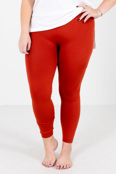 Women's Rust Orange Warm and Cozy Boutique Leggings