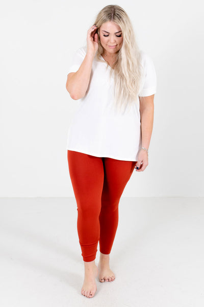 Winter Wonderland Rust Orange Fleece-Lined Curvy Leggings