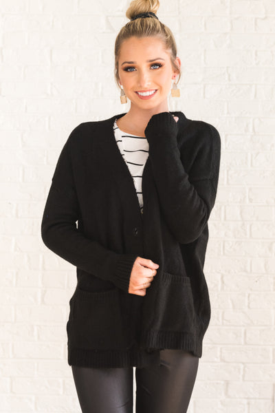 Winter Wishes Black Button Up Cardigan Womens Outerwear