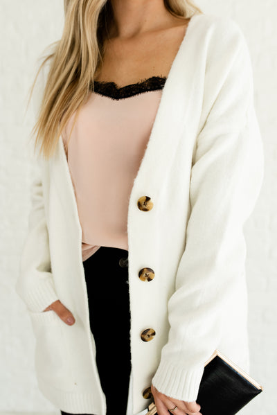 White Button-Up Tortoise Button Cardigans for Women