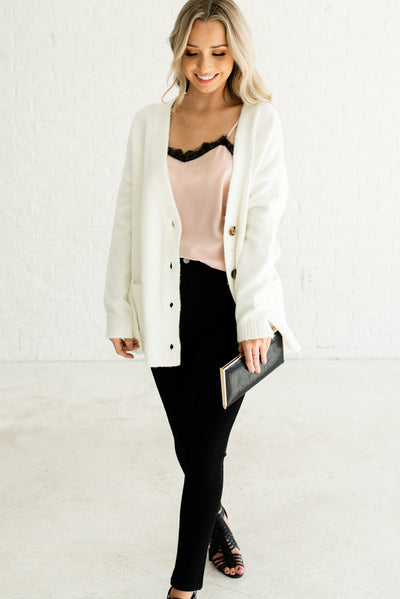 White Thick High-Quality Comfortable Boutique Cardigans for Women