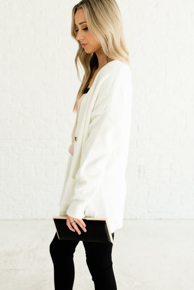 White Cardigans with Pockets for Women