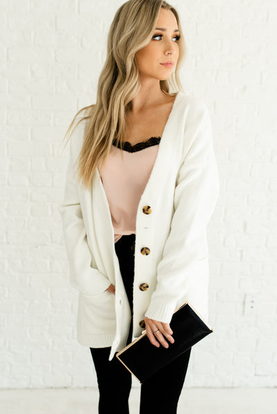 White High-Quality Knit Boutique Cardigans for Women