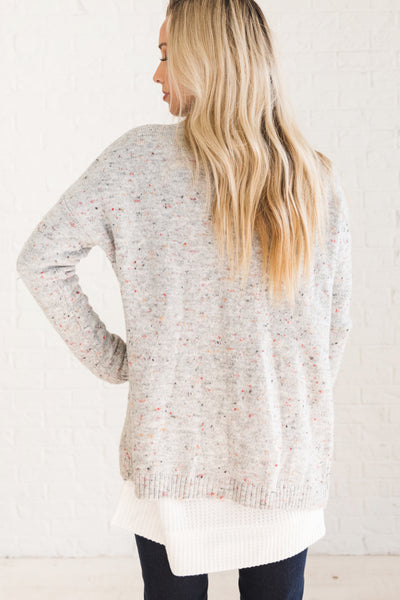 Gray Women's Long Sleeve Speckled Cardigan