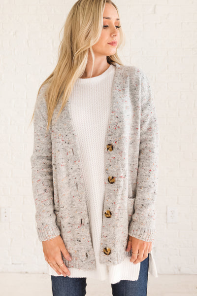 Gray Speckled Warm and Cozy Women's Cardigan