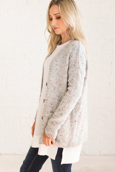 Gray Speckled Cardigans with Pockets for Women