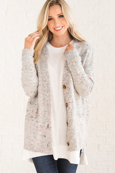 Gray Boutique Cardigan with Multicolored Specks for Women