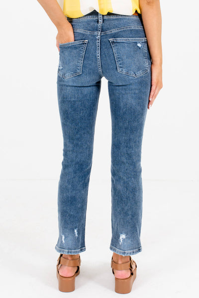 Women's Medium Wash Blue Denim Boutique Jeans with Pockets