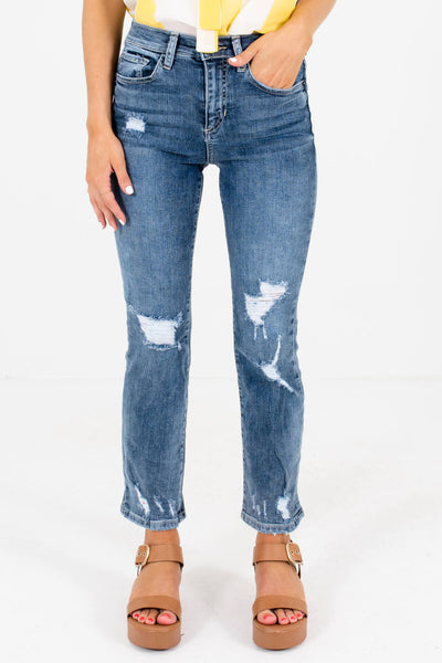Medium Wash Blue Denim Distressed Detailing Boutique Jeans for Women