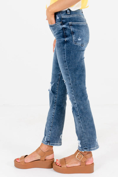 Medium Wash Blue Denim Bronze Hardware Boutique Jeans for Women