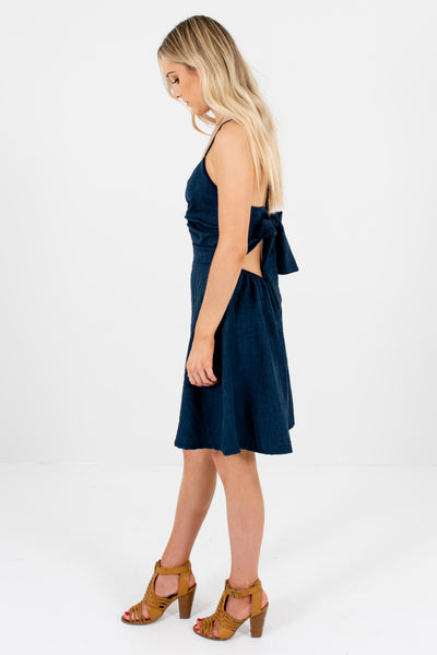 Navy Blue V-Neckline Style Boutique Mini Dresses for Women