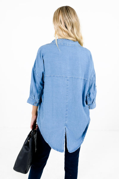Women's Blue Chambray Button-Up Front Boutique Tops