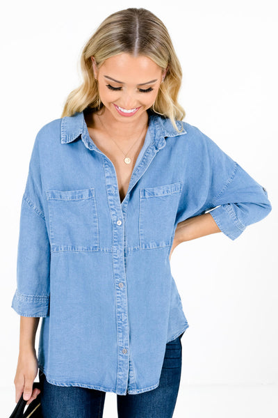 Light Wash Blue Chambray Material Boutique Tops for Women