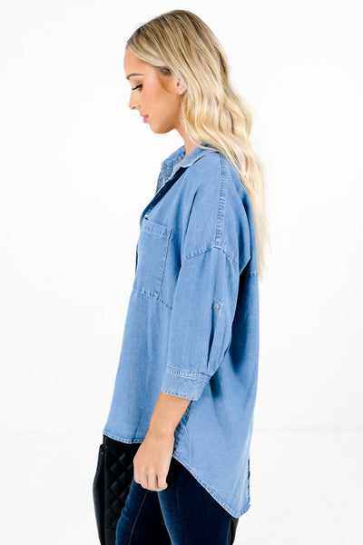 Women's Blue Front Pocket Boutique Tops