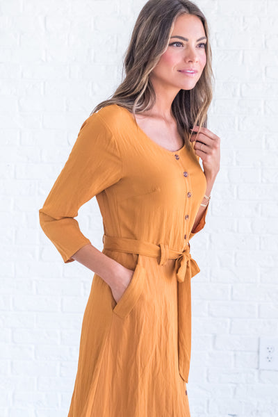Mustard Yellow Winter Dresses with Pockets for Women
