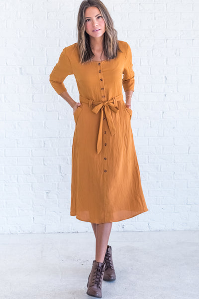 Mustard Yellow Knee-Length Winter Dresses for Women