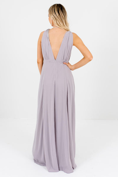 Women's Light Gray Front and Back Deep V-Neckline Boutique Maxi Dress
