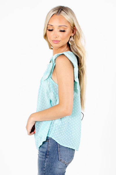Women's Blue Ruffle Sleeve Boutique Blouse