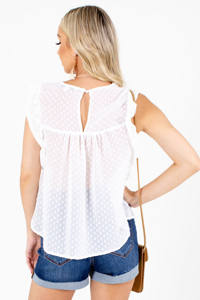Women's White Keyhole Back Boutqiue Blouse