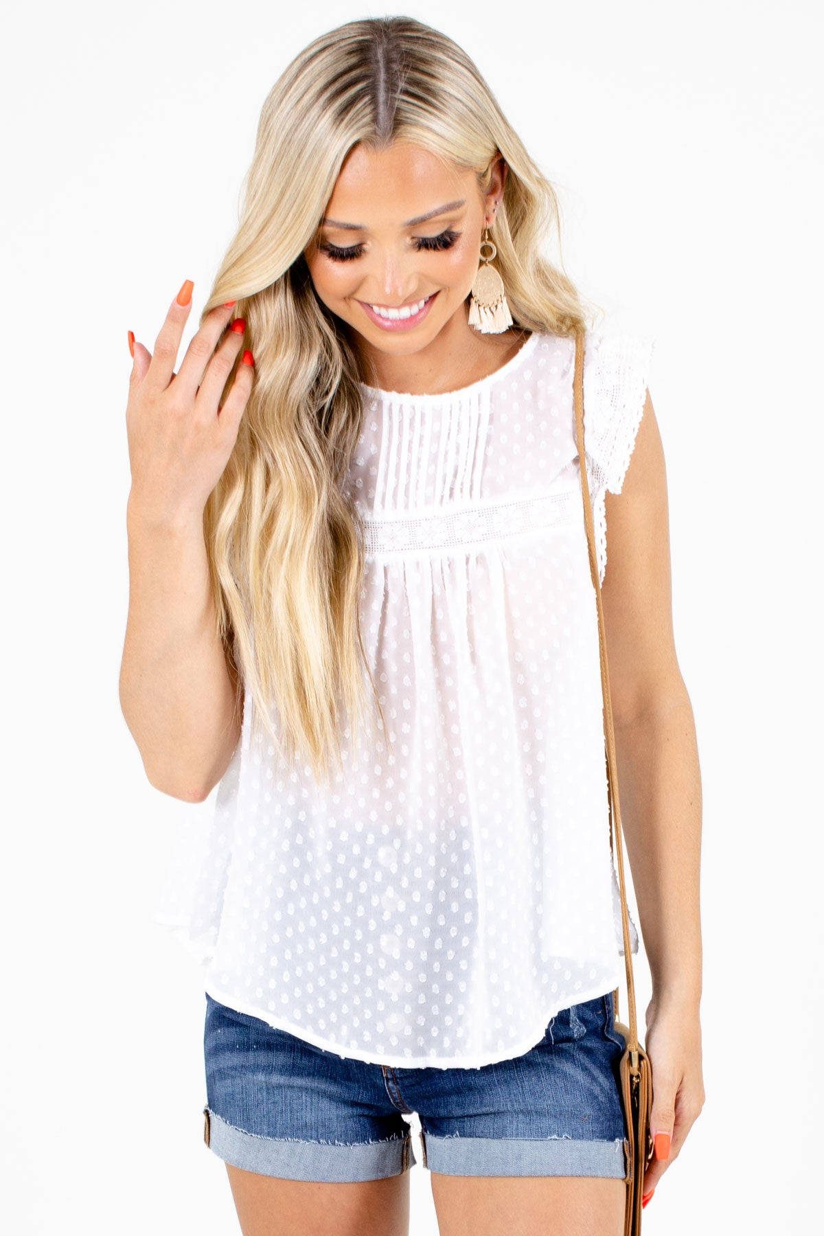 White Textured Material Boutqiue Blouses for Women