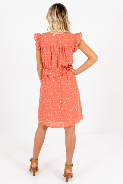 Salmon Pink Polka Dot Ruffle Mini Dresses Affordable Online Boutique