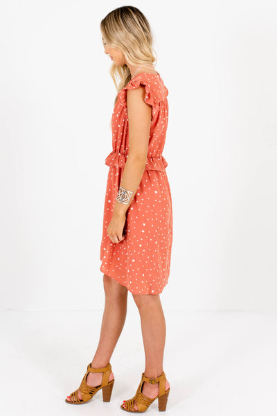 Salmon Pink Ruffle Polka Dot Mini Dresses Affordable Online Boutique