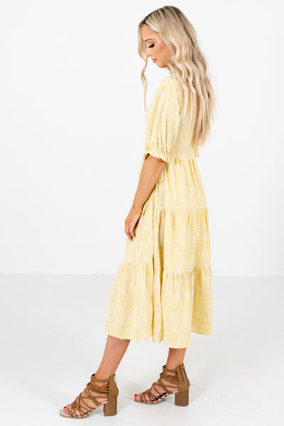 Yellow Cute and Comfortable Boutique Midi Dresses for Women