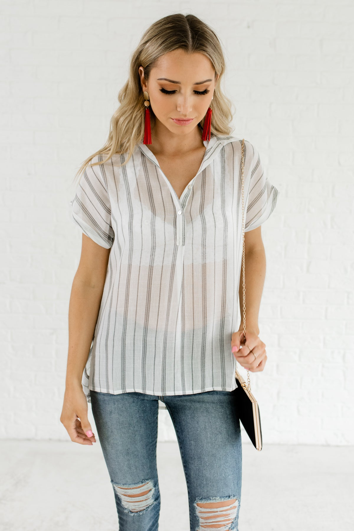 White and Black Button-Up Striped Boutique Tops for Women