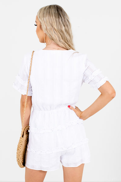 Women's White V-Neckline Boutique Romper