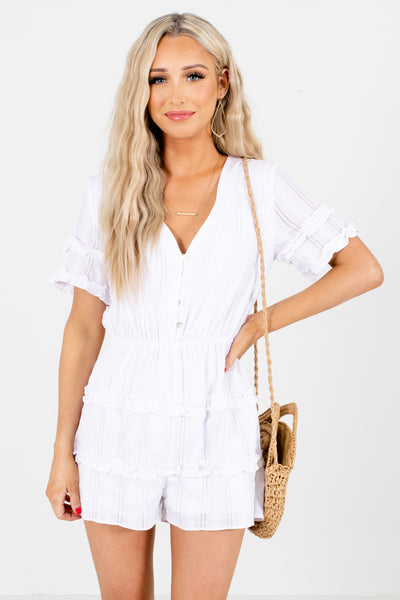 Women's White Elastic Waistband Boutique Romper