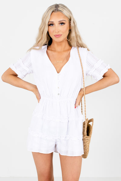 White Ruffle Accented Boutique Rompers for Women