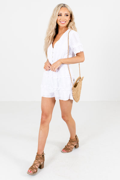 White Button-Up Bodice Boutique Rompers for Women