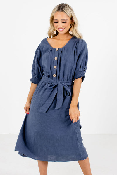 Women's Blue Smocked Accented Boutique Knee-Length Dress