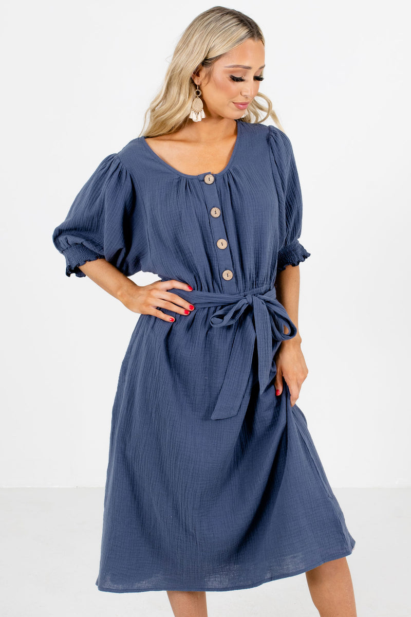 Won't Be Ignored Blue Knee-Length Dress