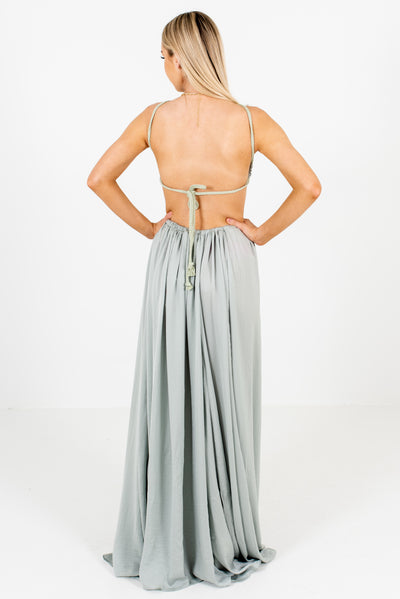 Women's Sage Green Fully Lined Boutique Maxi Dress