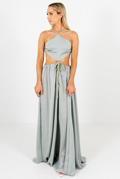 Women's Sage Green Cute and Comfortable Boutique Maxi Dresses