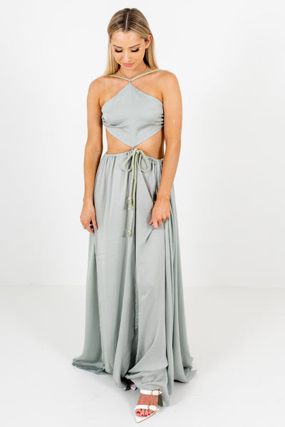 Sage Green Open Back Style Boutique Maxi Dresses for Women