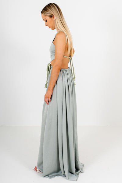 Sage Green Drawstring Waistband Boutique Maxi Dresses for Women