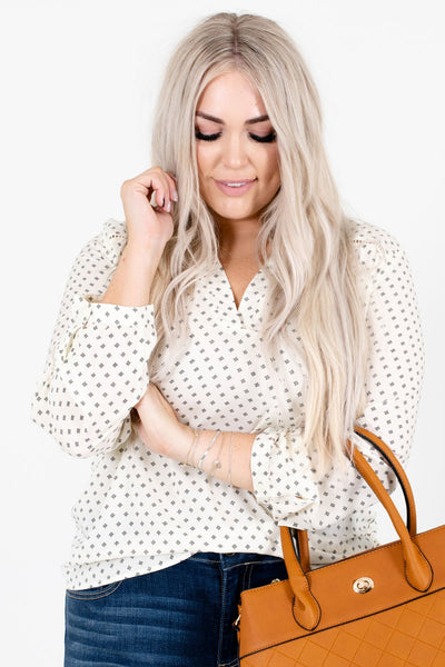 Cream Patterned Business Casual Boutique Blouses for Women