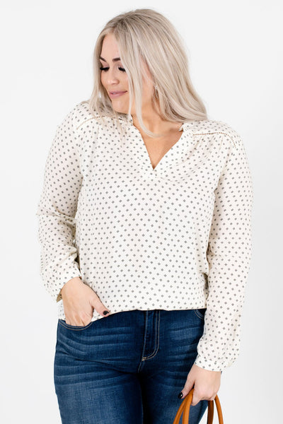 Cream and Black Geometric Patterned Boutique Blouses for Women