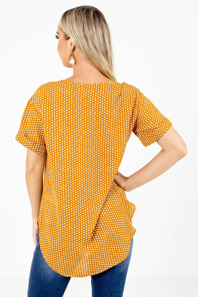Women's Mustard Yellow High-Low Hem Boutique Blouse