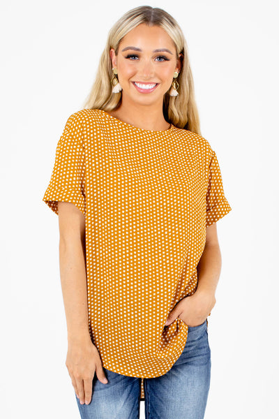 Mustard Polka Dot Patterned Boutique Blouses for Women