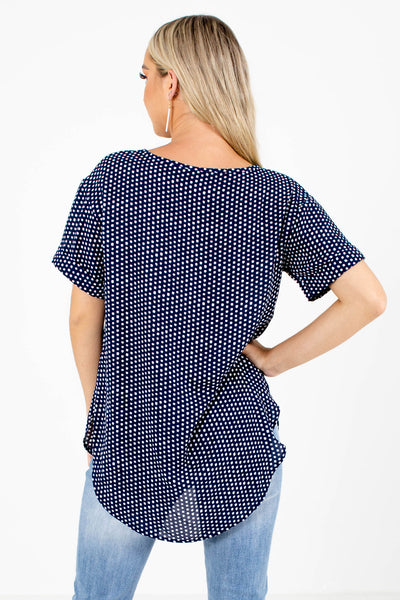 Women's Navy Blue Round Neckline Boutique Blouse