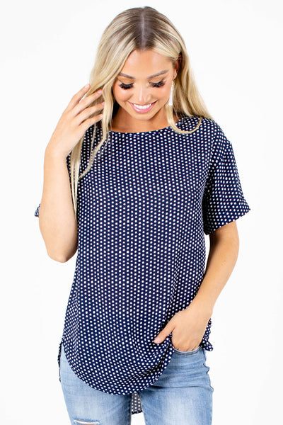 Navy Blue Cuffed Sleeve Boutique Blouses for Women