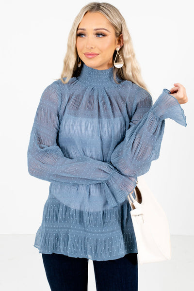 Women's Blue Cute and Comfortable Boutique Blouse