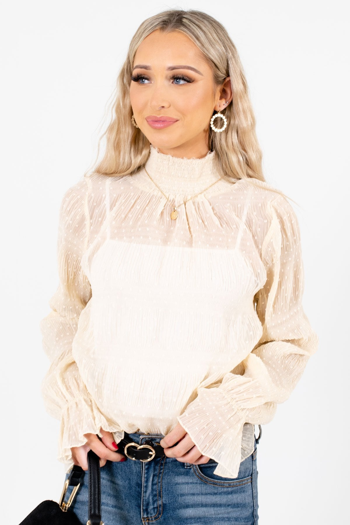 Cream Lightweight Flowy Boutique Blouses for Women