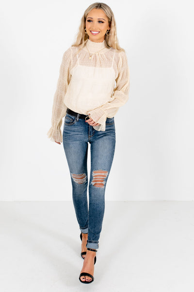 Cream Affordable Online Boutique Blouses for Women