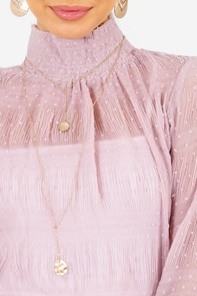 Women's Pink Smocked Mock Style Neckline Boutique Blouse