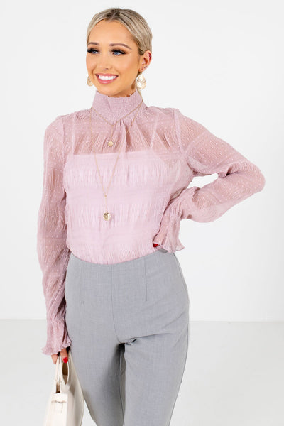 Pink Semi-Sheer Polk Dot Textured Boutique Blouses for Women