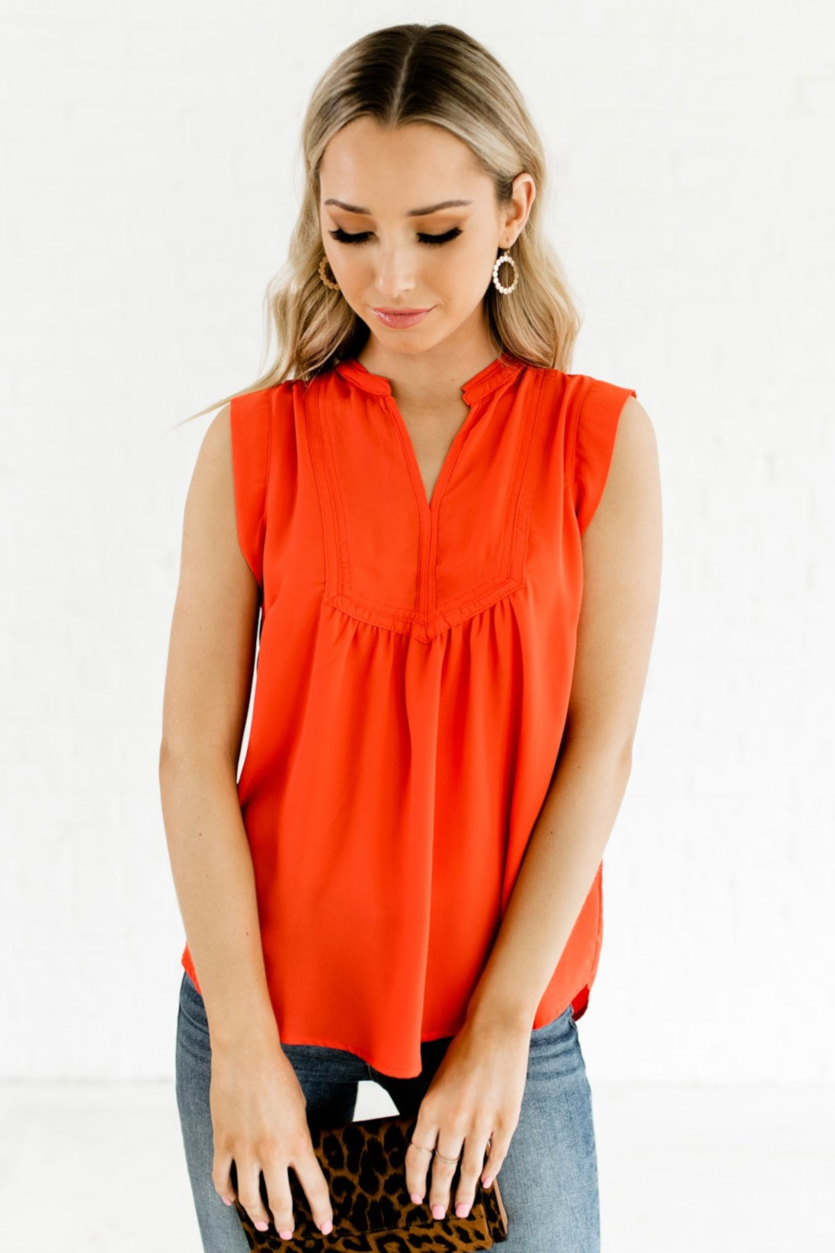 Red Orange High-Low Hem Boutique Blouses for Women